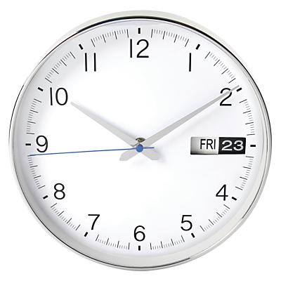 Image of London Clock Company Date Wall Clock, Dia.25cm, Silver