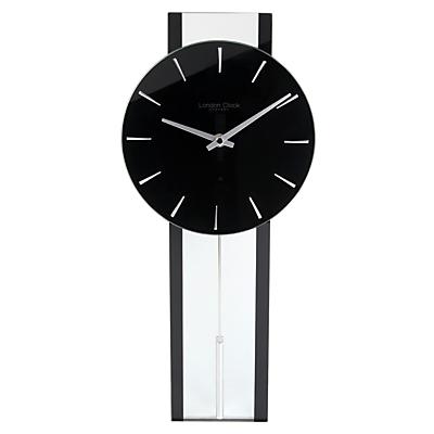 Image of London Clock Company Pendulum Wall Clock, Black