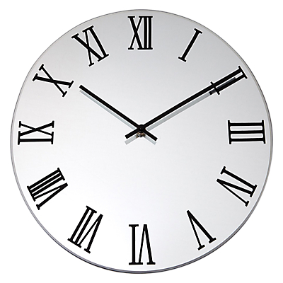 Lascelles Mirrored Clock, Dia.36cm, Silver