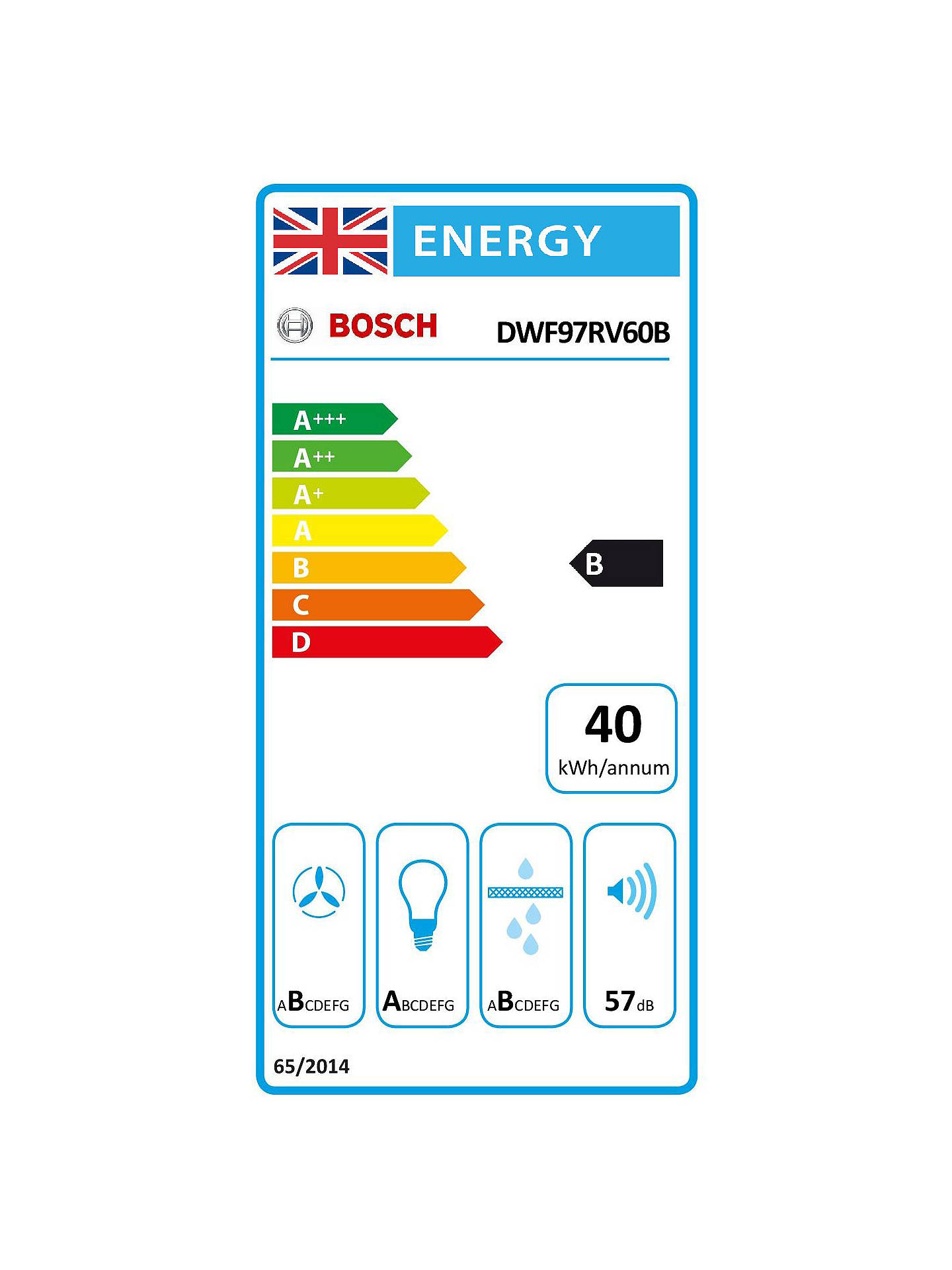 Buy Bosch DWF97RV60B 90cm Chimney Cooker Hood, B Energy Rating, Black Online at johnlewis.com
