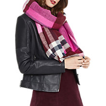 Buy Oasis Annabelle Check Scarf, Burgundy Online at johnlewis.com