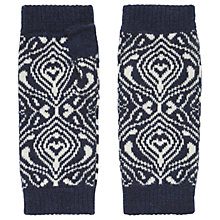 Buy Brora Cashmere Mosaic Wristwarmer, French Navy/Platinum Online at johnlewis.com