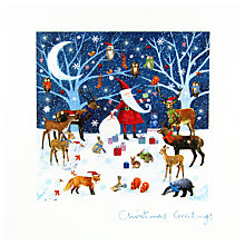 Buy Woodmansterne Santa with Woodland Creatures Christmas Card Online at johnlewis.com