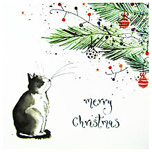 Buy Louise Mulgrew Cat Under The Tree Christmas Card Online at johnlewis.com