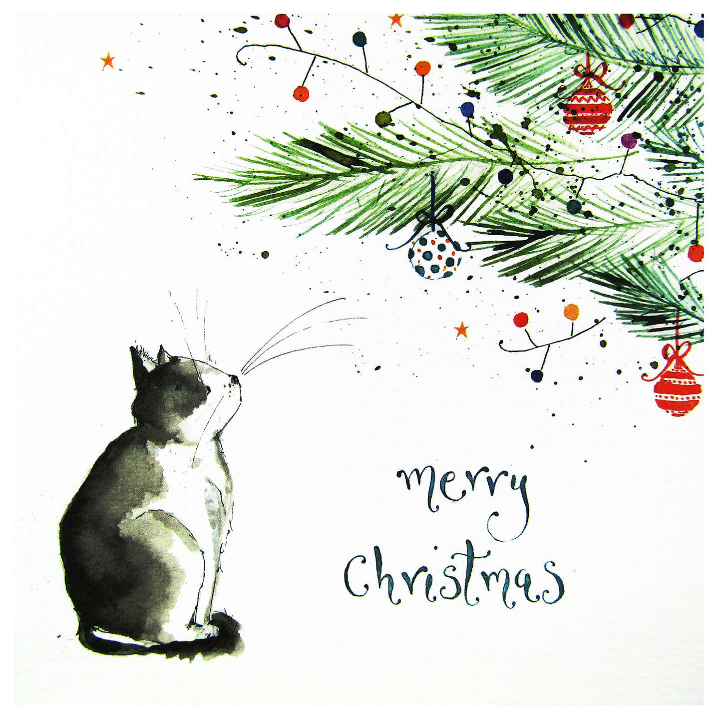 Buylouise Mulgrew Cat Under The Tree Christmas Card Online At
