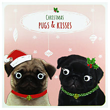 Buy Paperlink Pugs & Kisses Christmas Card Online at johnlewis.com