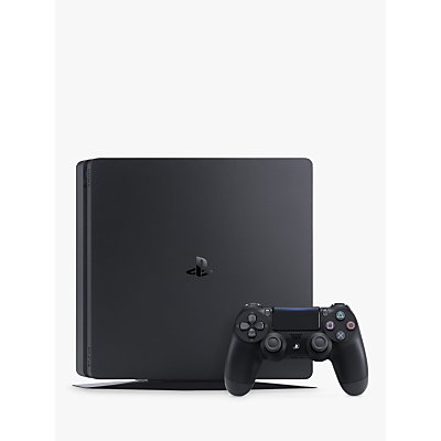 Image of Sony PlayStation 4 Slim Console, 1TB, with DUALSHOCK 4 Controller, Jet Black