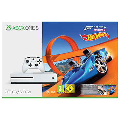 Image of Microsoft Xbox One S Console, 500GB, with Wireless Controller and Forza Horizon 3 Hot Wheels Bundle