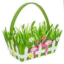 Buy John Lewis Easter Flamingo Basket, Green Online at johnlewis.com