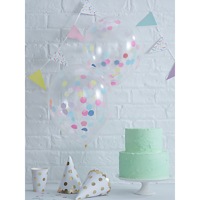 Image of Ginger Ray Spot Confetti Filled Balloons, Pack of 5