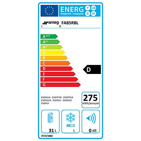 buy smeg fab5r mini fridge d energy rating 40cm wide right
