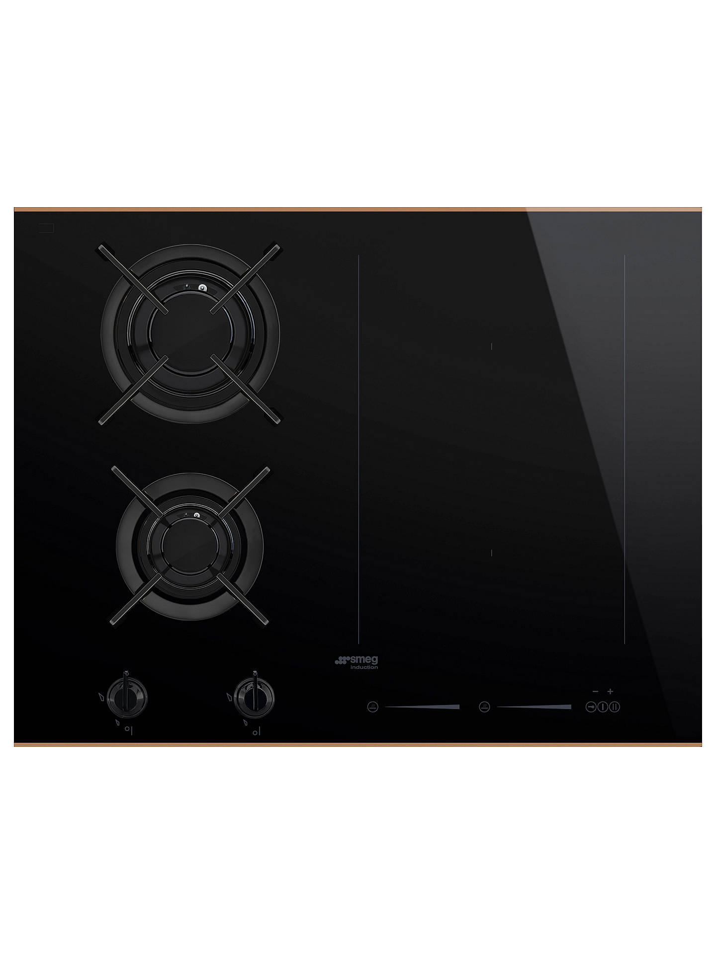 BuySmeg PM6621WLDR Induction and Gas Mixed Hob, Black Online at johnlewis.com