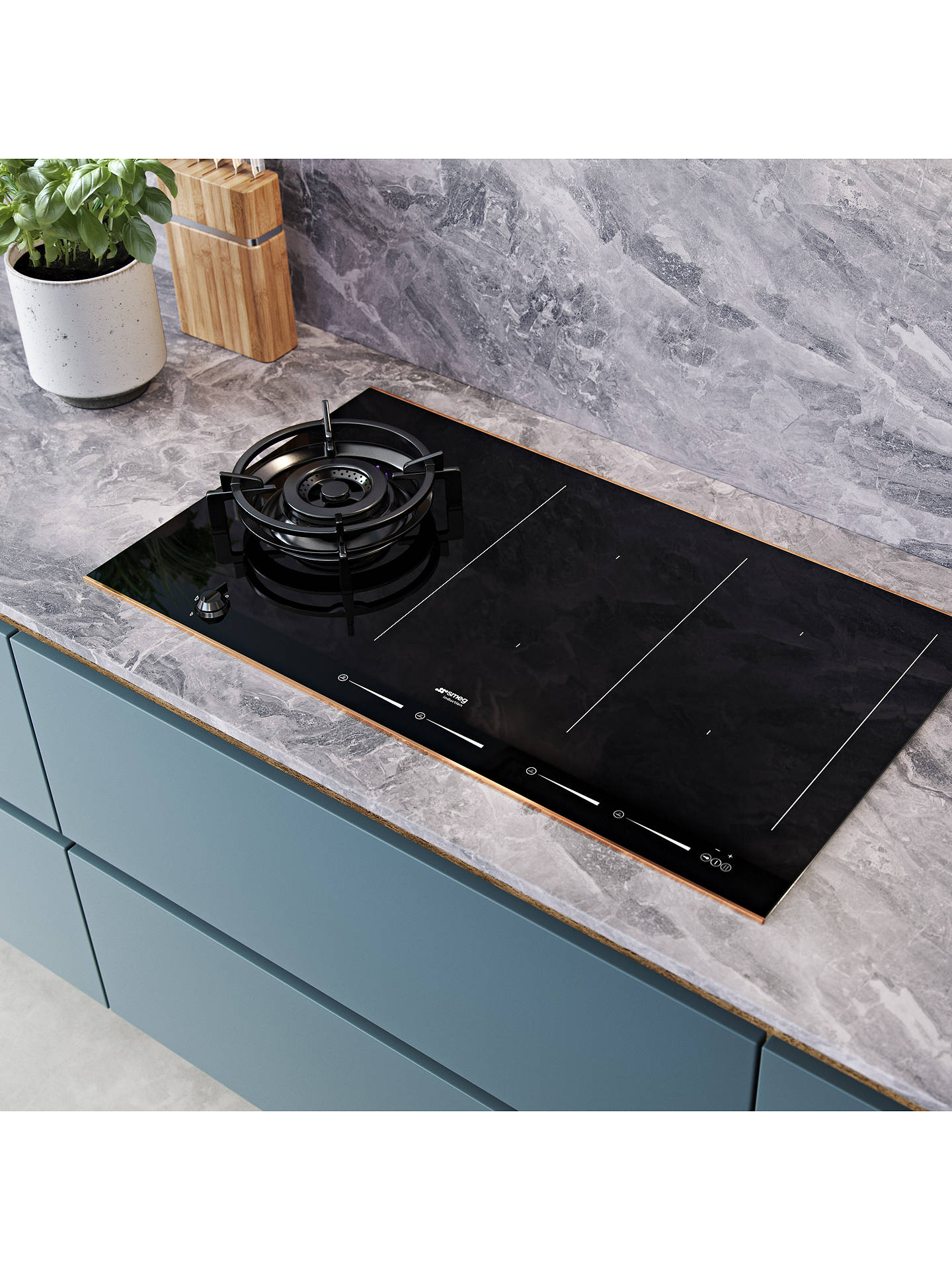 Buy Smeg PM6912WLDR Induction and Gas Mixed Hob, Black Online at johnlewis.com