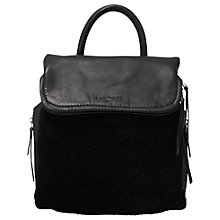 Buy Liebeskind Texas Leather Shearling Backpack, Oil Black Online at johnlewis.com