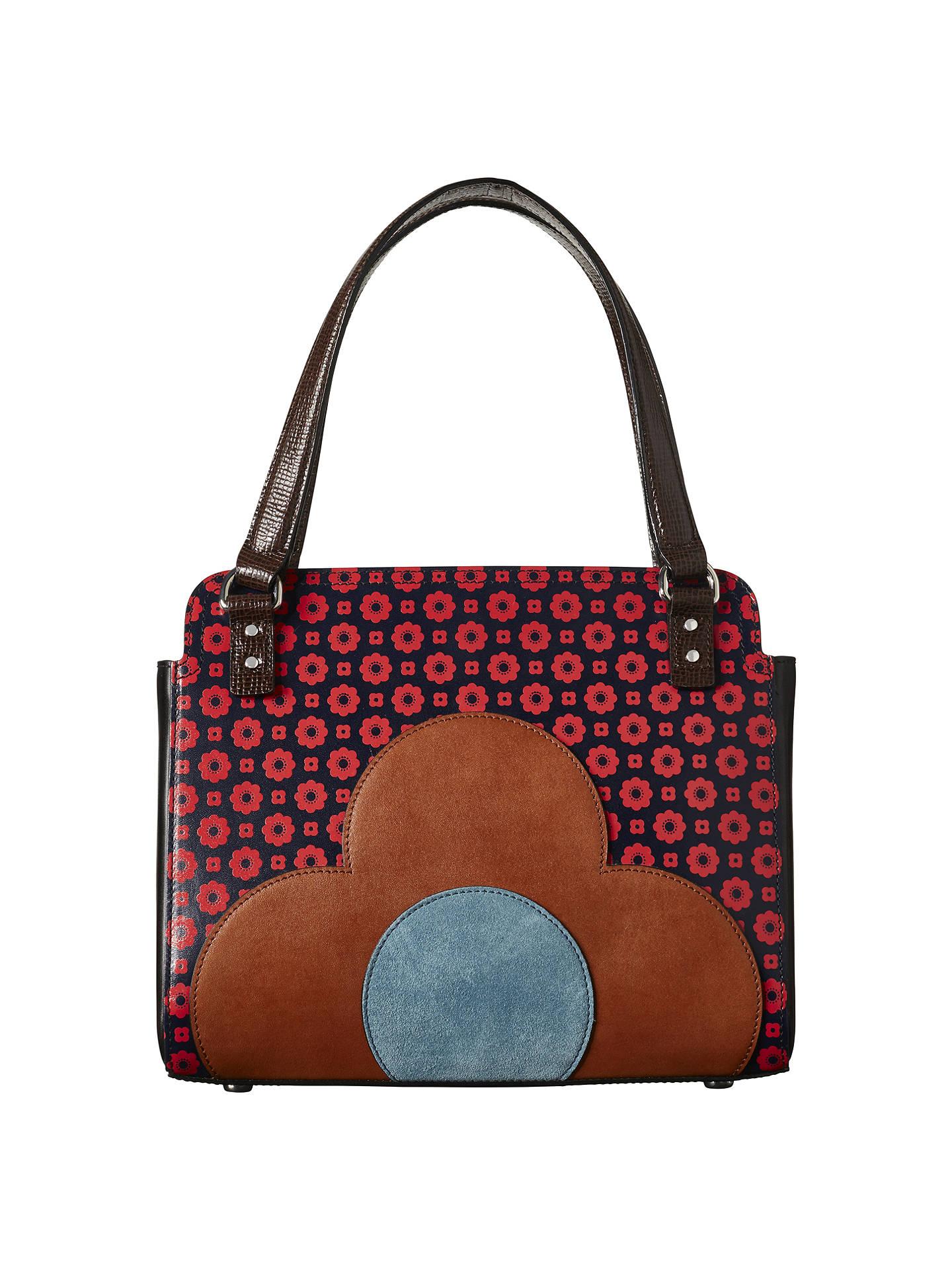 Orla Kiely Jeanette Leather Flower Foulard Bowler Bag Multi Online At Johnlewis