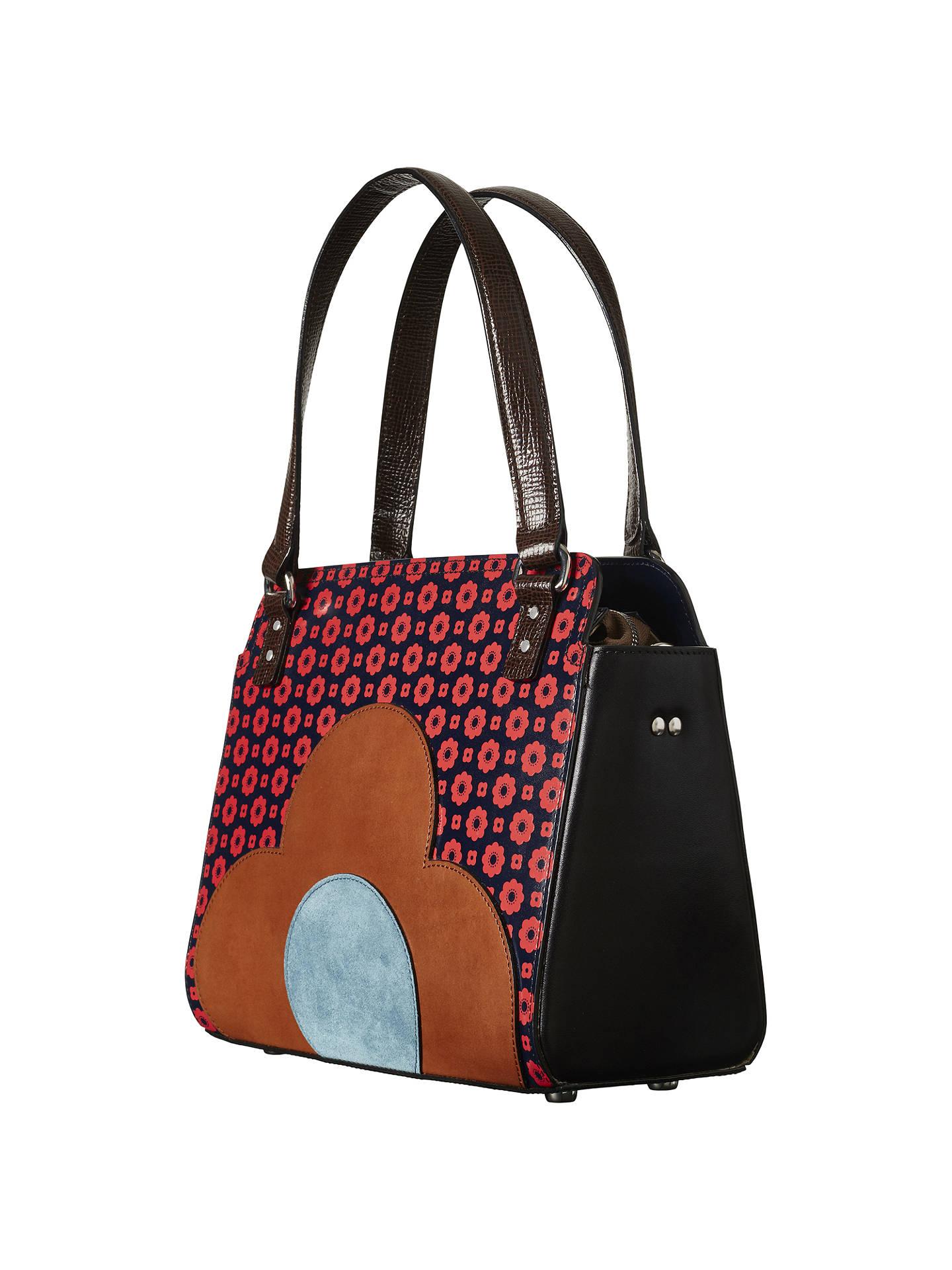 Orla Kiely Jeanette Leather Flower Foulard Bowler Bag Multi