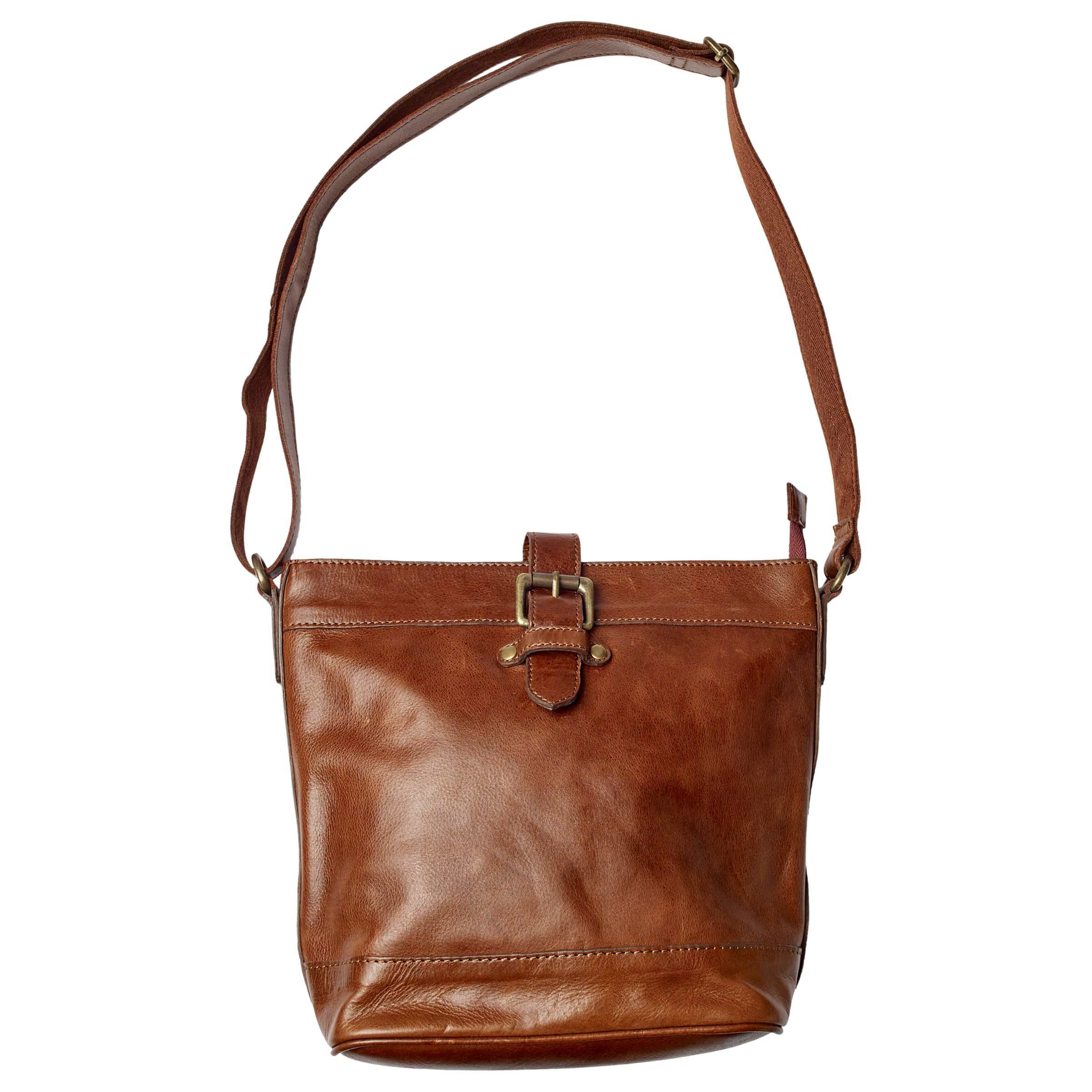 Fat Face Leather Frankie Cross Body Bag, Chestnut at John