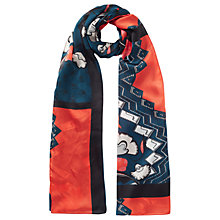 Buy Jigsaw Nordic Floral Print Silk Scarf, Dark Petrol Online at johnlewis.com