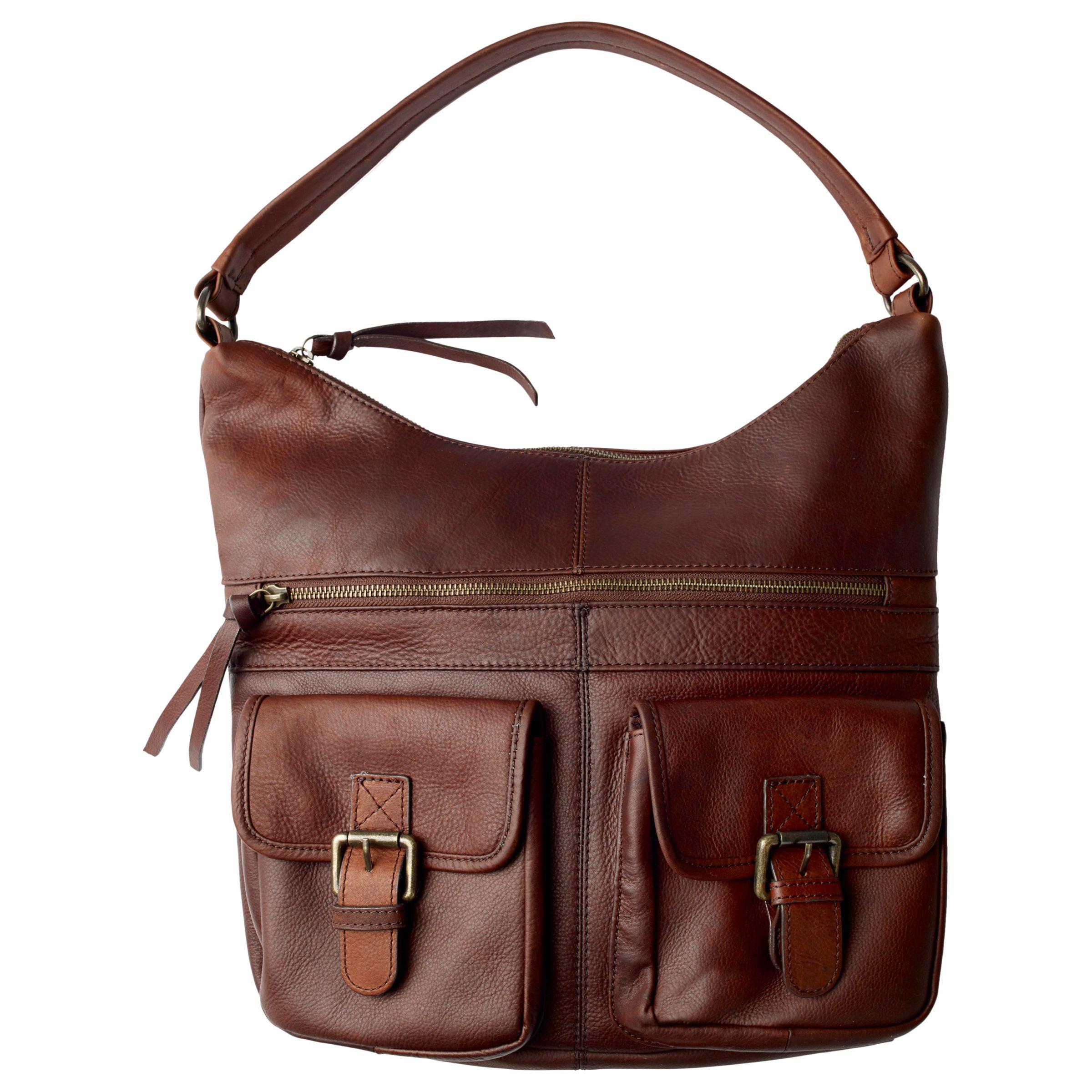 6bded93d55c Fat Face Amelia Leather Shoulder Bag, Chocolate at John Lewis & Partners