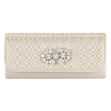 Buy Adrianna Papell Satin Clutch with Rhinestones, Ivory Online at johnlewis.com