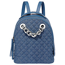 Buy Fiorelli Anouk Quilted Small Chain Backpack, Denim Online at johnlewis.com