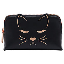 Buy Ted Baker Tyisha Leather Cat Make Up Bag, Black Online at johnlewis.com