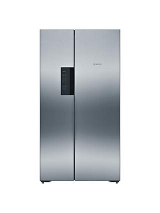 Bosch KAN92VI35 American Style Freestanding 60/40 Fridge Freezer, A++ Energy Rating, 91cm Wide, Stainless Steel/Chrome Inox