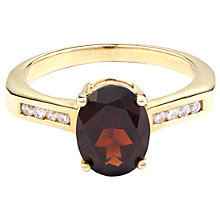 Buy A B Davis 9ct Gold Oval Diamond Shoulder Ring Online at johnlewis.com