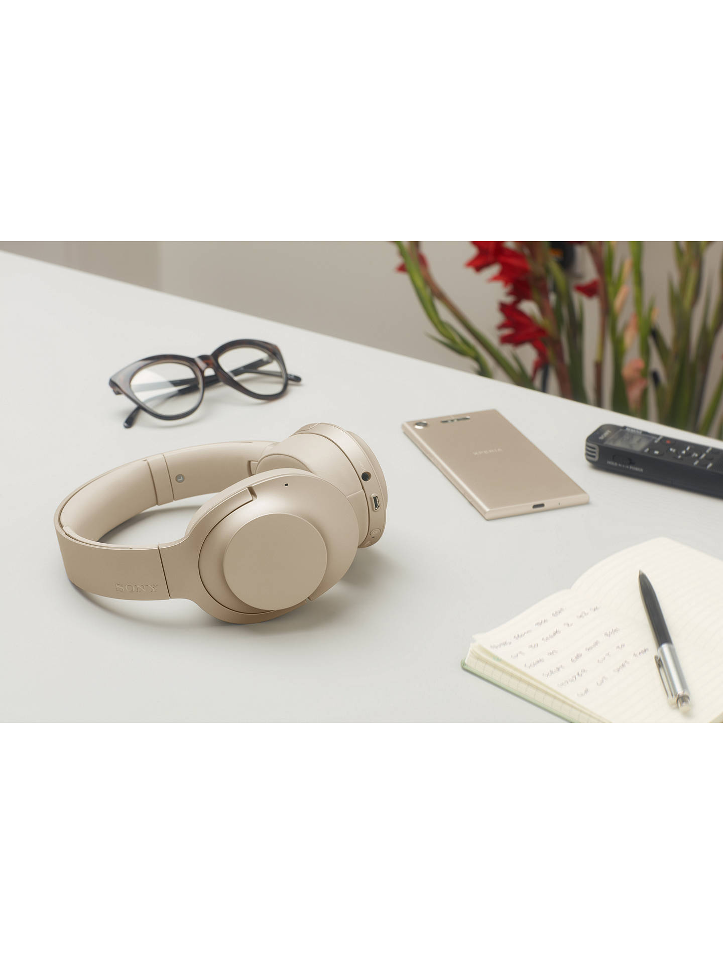 Sony WH-H900N h ear on 2 Wireless Bluetooth NFC Over-Ear Headphones with  Noise Cancellation, Gold