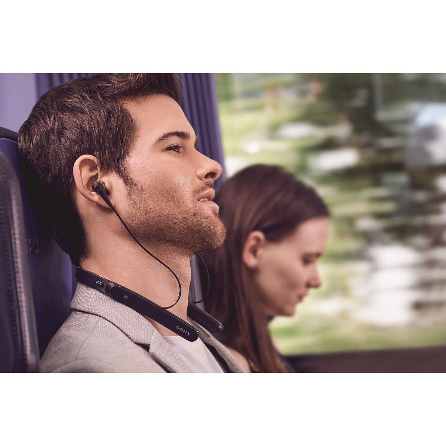 BuySony WI-1000X Noise Cancelling Wireless Bluetooth NFC High Resolution Audio In-Ear Headphones with Mic/Remote & Neckband, Black Online at johnlewis.com