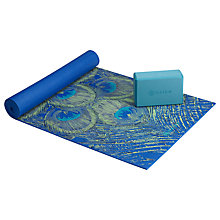 Buy Gaiam Yoga Premium 6mm Mat and Brick Set, Blue/Teal Online at johnlewis.com