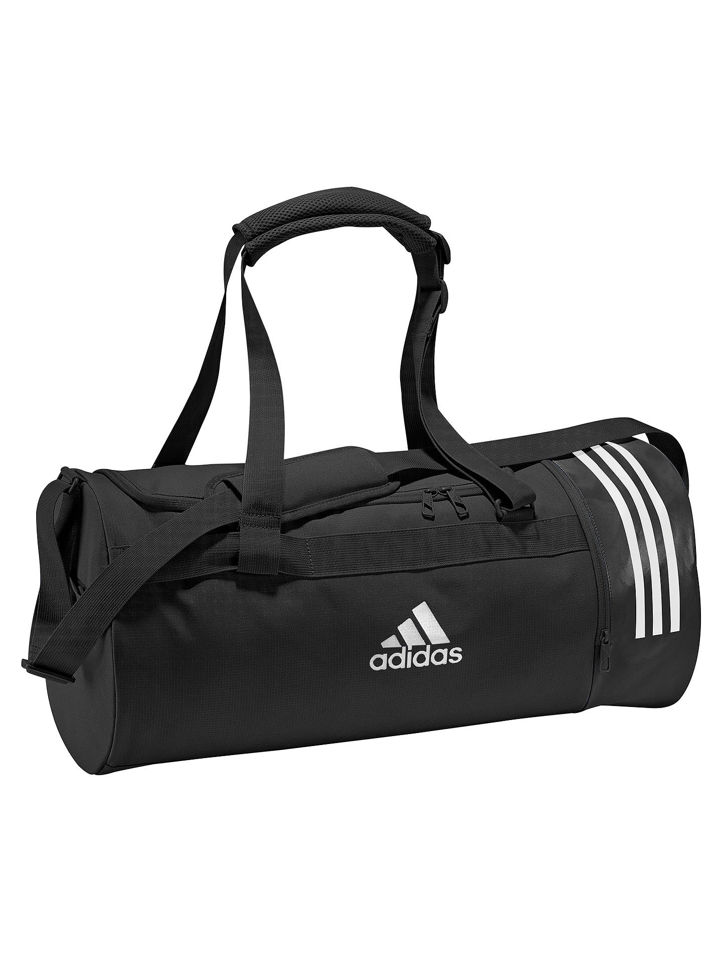 Buyadidas Convertible 3-Stripes Duffle Bag, Medium, Black Online at johnlewis.com