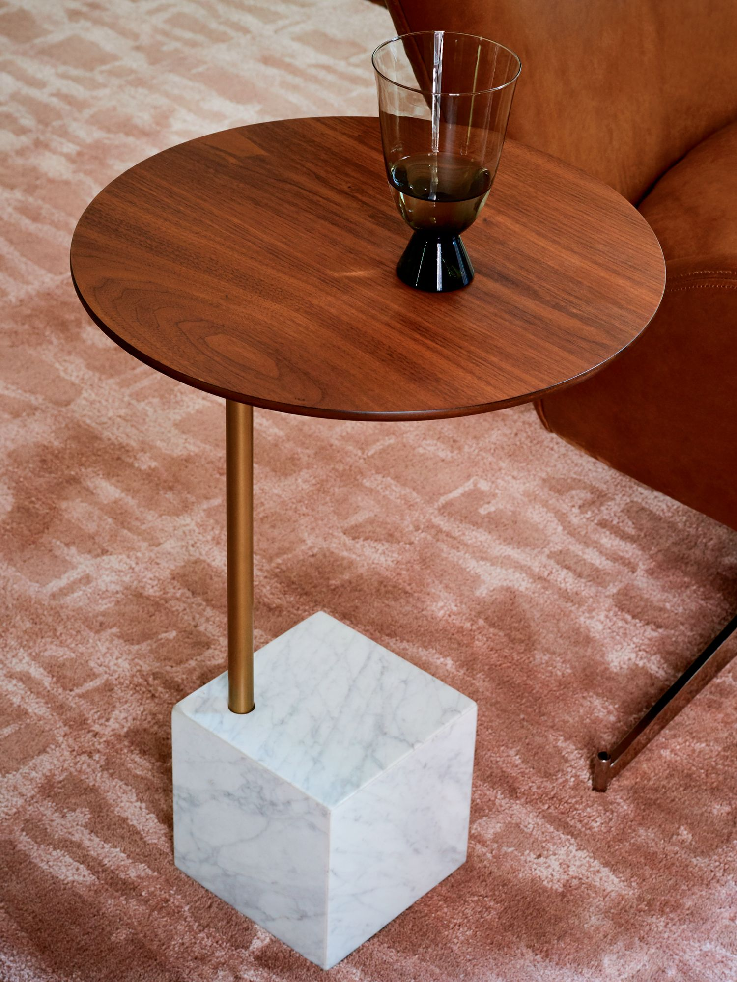 West Elm Cube Marble Base Side Table At John Lewis Partners