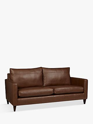 John Lewis & Partners Bailey Leather Large 3 Seater Sofa, Dark Leg, Milan Chestnut