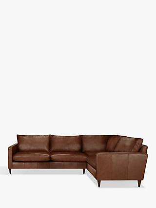 John Lewis & Partners Bailey Leather RHF Corner End Unit, Dark Leg, Milan Chestnut