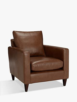 John Lewis & Partners Bailey Leather Armchair, Dark Leg, Milan Chestnut