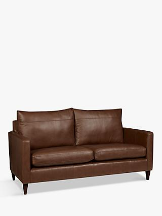 John Lewis & Partners Bailey Leather Medium 2 Seater Sofa, Dark Leg, Milan Chestnut