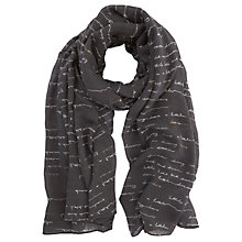 Buy Mint Velvet Handwritten Foil Detail Scarf, Slate/White Online at johnlewis.com
