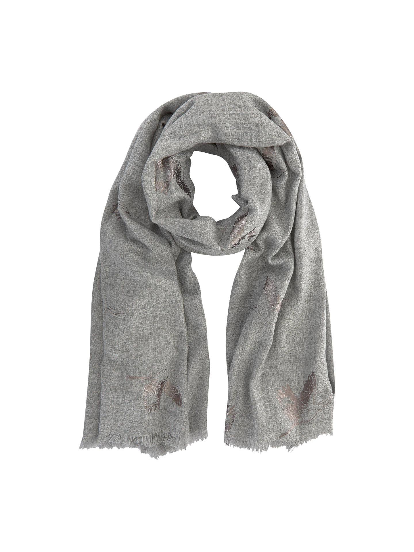 61d8a1ae9 Buy Mint Velvet Foiled Bird Blanket Scarf, Grey Online at johnlewis.com ...