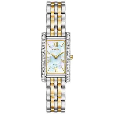 Citizen EX1474-85D Women's Swarovski Crystal Eco-Drive Rectangular Bracelet Strap Watch, Silver/Gold
