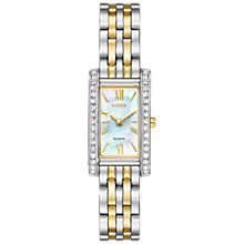Buy Citizen EX1474-85D Women's Swarovski Crystal Eco-Drive Rectangular Bracelet Strap Watch, Silver/Gold Online at johnlewis.com