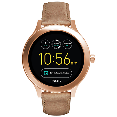 Fossil Q FTW6005 Women's Venture Leather Strap Touchscreen Smartwatch, Nude/Black