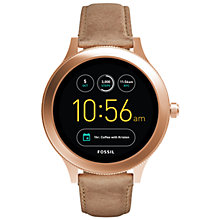 Buy Fossil Q FTW6005 Women's Venture Leather Strap Touchscreen Smartwatch, Nude/Black Online at johnlewis.com