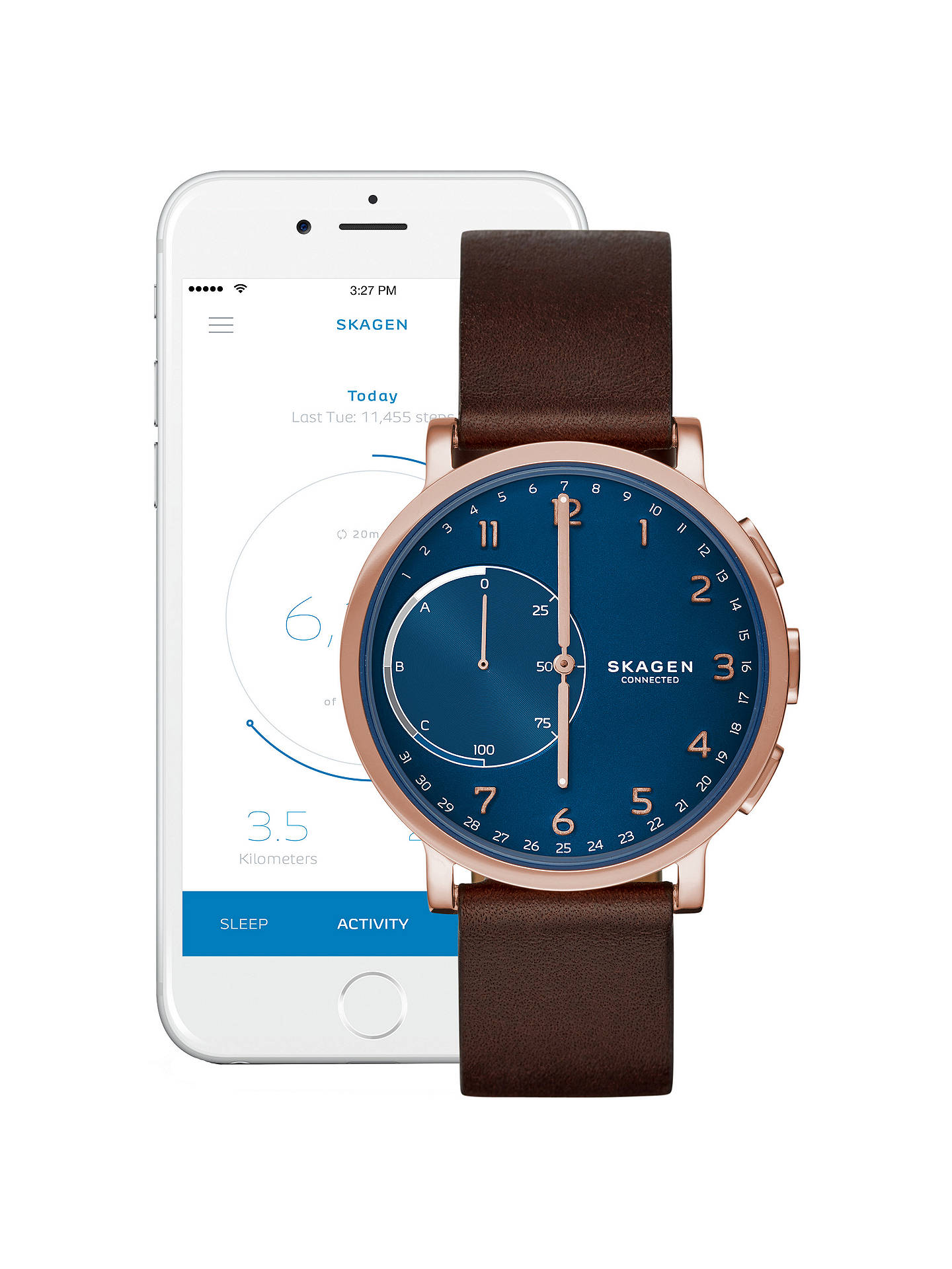 Skagen Connected Skt1103 Men S Hagen Leather Strap Hybrid Smartwatch