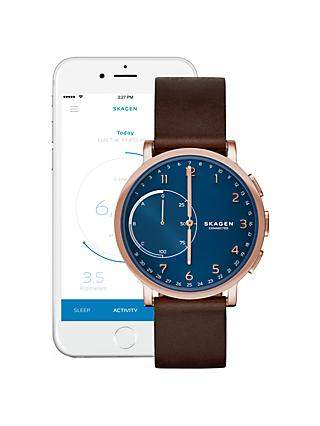 Skagen Connected SKT1103 Men's Hagen Leather Strap Hybrid Smartwatch, Dark Brown/Blue