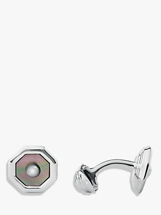 Links of London Sterling Silver Sloane Square Mother of Pearl T Bar Cufflinks, Silver