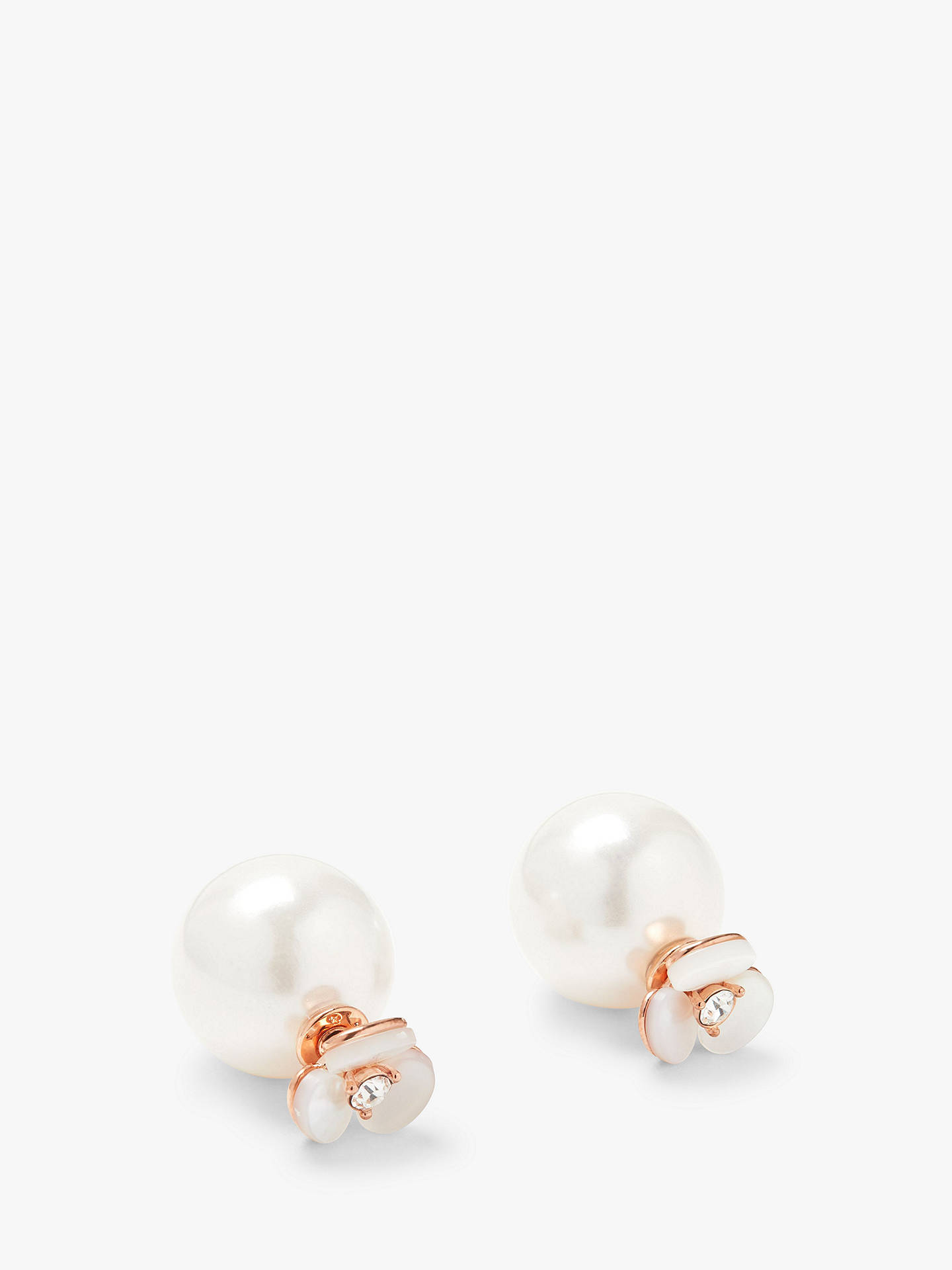 7146d5b31 Buy kate spade new york Reversible Disco Pansy and Faux Pearl Stud Earrings,  Rose Gold ...