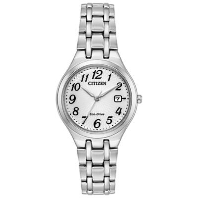 Citizen EW2480-59A Women's Corso Eo-Drive Date Bracelet Strap Watch, Silver/White