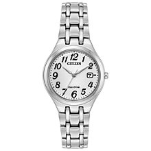 Buy Citizen EW2480-59A Women's Corso Eo-Drive Date Bracelet Strap Watch, Silver/White Online at johnlewis.com