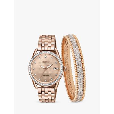 Citizen FE6113-57X SET Women's Eco-Drive Swarovski Crystal Date Bracelet Strap Watch and Bangle Gift Set, Rose Gold